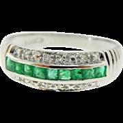 Estate 14 Karat White Gold Emerald Diamond Ring Band