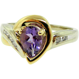 Estate 14 Karat Two Tone Gold Amethyst Diamond Ring