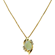 Estate 14 Karat Yellow Gold Opal Diamond Petite Pendant