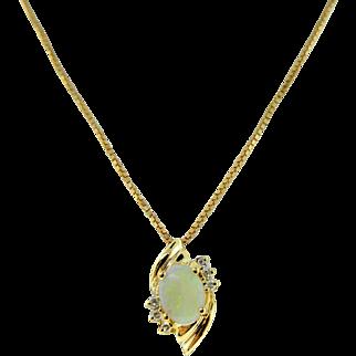 Estate 14 Karat Yellow Gold Opal Diamond Petite Pendant