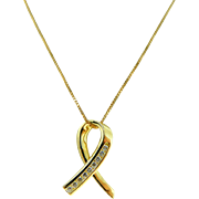Estate 14 Karat Yellow Gold Diamond Cancer Awareness Ribbon Pendant