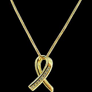 Estate 14 Karat Yellow Gold Diamond Cancer Awareness Ribbon Pendant