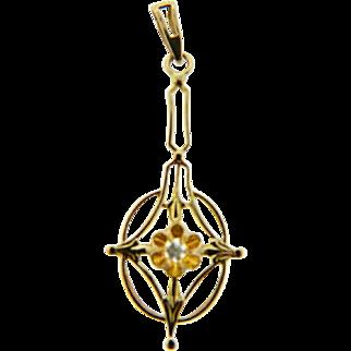 Vintage Delicate Yellow Gold Old European Cut Diamond Pendant