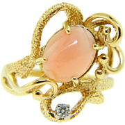 Vintage 1970s 14 Karat Gold Light Salmon Coral Diamond Ring