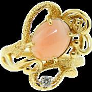 Vintage 1970s 14 Karat Gold Light Salmon Coral Diamond Ring
