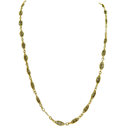 Vintage 14 Karat Yellow Gold Fancy Link Long Chain Necklace