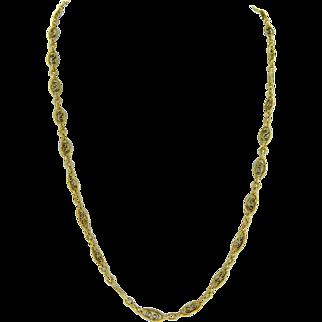 Vintage 14 Karat Yellow Gold Fancy Link Long Chain Necklace