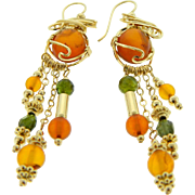 Estate Handmade 14 Karat Yellow Gold Amber Peridot Dangle Earrings
