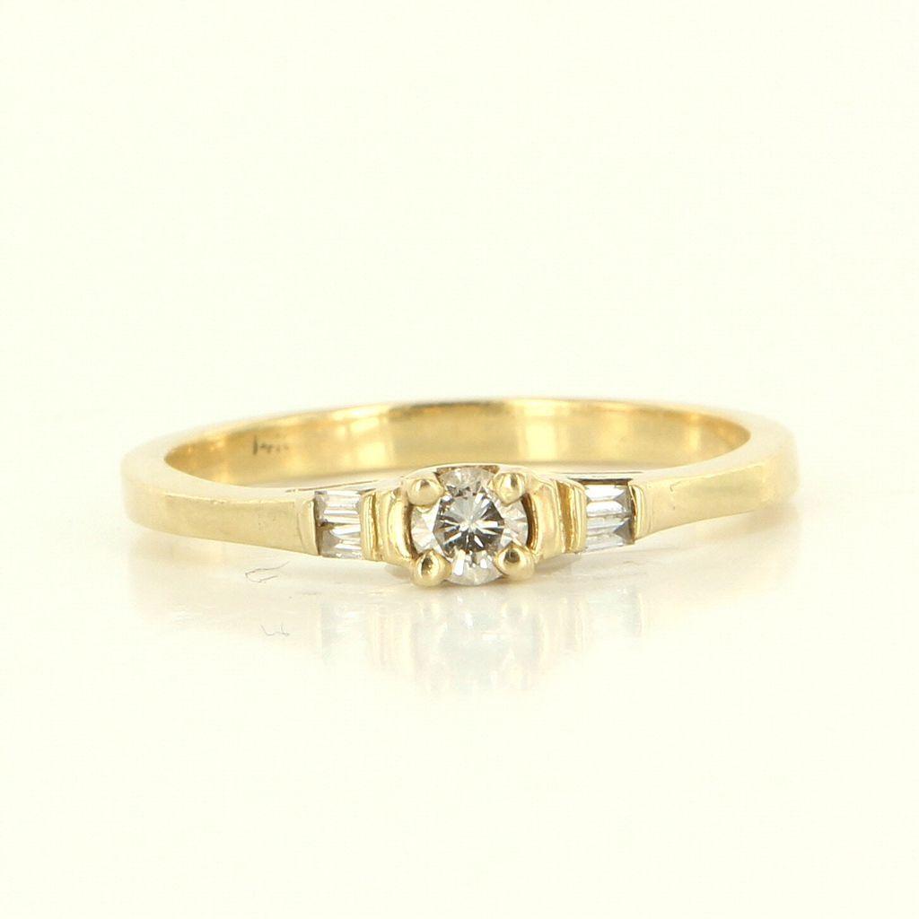 estate 14 karat yellow gold engagement ring from