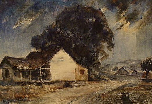 Einar Hansen  Moonlit farm  15x22 watercolor