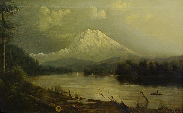 Large 19th century oil-Mt. Shasta or Mt.Rainier