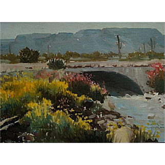 BillBender  Bridge near Quartzsite   12x16 oil on canvas panel