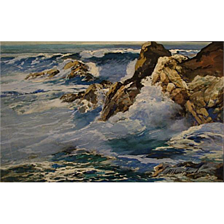 Albert Jacobson   Crashing California Surf  12x18 gouache on board