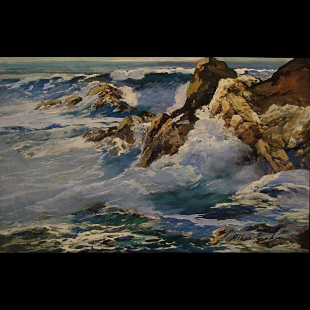 Albert Jacobson Crashing California Surf 12x18 Gouache On