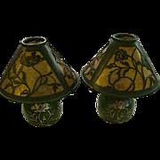 Near flawless pair of Heintz Art Metal Studio Bronze and Silver overlay Mica shade lamps