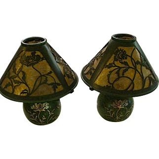 Near flawless pair of Heintz Art Metal Studio Bronze and Silver overlay Mica shade lamps