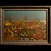 """Village Rooftops at Twilight"" by Josef Ullmann"
