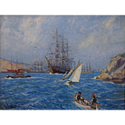 "Hernando Villa  ""Sailing Ships-San Pedro Harbor"""