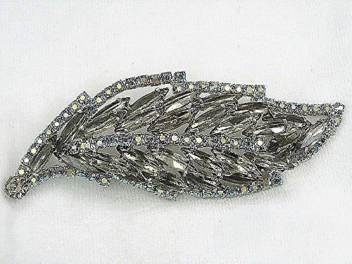Juliana Layered Leaf Motif Brooch In Black RS w AB's