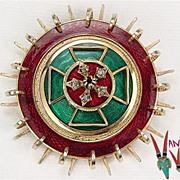 Vintage Accessocraft Brooch Burgundy & Green Enamel