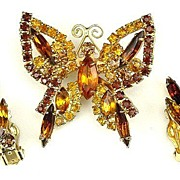 Juliana Style Butterfly Demi Parure Brooch Earrings