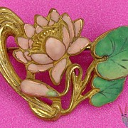 Art Nouveau Enameled Brooch Lilly Pad & Flower