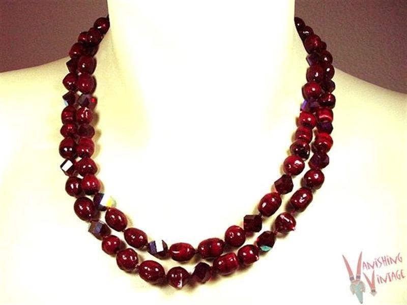 Vintage Vogue Cranberry Striped Glass Bead Necklace