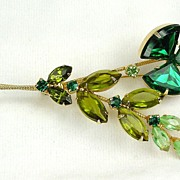 Juliana Flower Brooch in Shades of Green Triangular RS