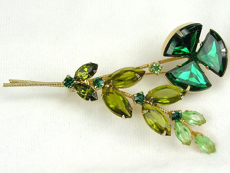 Juliana Flower Brooch in Shades of Green Triangular RS