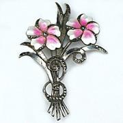 Sterling Flower Brooch Pink & White Enamel w Marcasites
