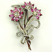 Awesome Book Piece Bouquet Brooch Enamel & Pink RS