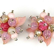West Germany Molded Pink Glass & Bead Earrings