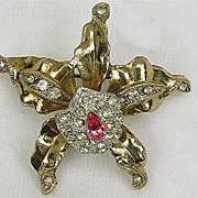Vintage Orchid Trembler Brooch 3-D with Rhinestones