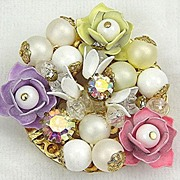 Pretty Pastel Flower Brooch Pink Purple, Yellow Enamel