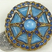 Vintage Czechoslovakia Blue Moonglow Brooch