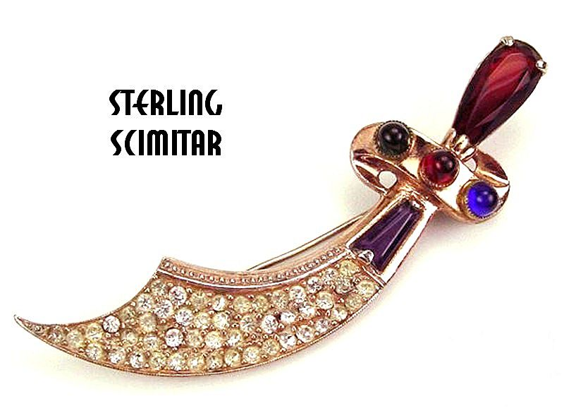 Sterling Scimitar Brooch Pendant Colored & White RS