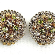 Vintage Earrings From Austria Peridot Topaz RS