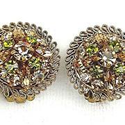 Vintage Earrings From Austria Peridot Topaz RS