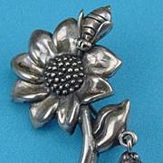 Sterling Brooch Flower, Bee Dangling Ladybug Signed