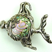 Whimsical Sterling & Abalone Fish Plympton by Cyrva