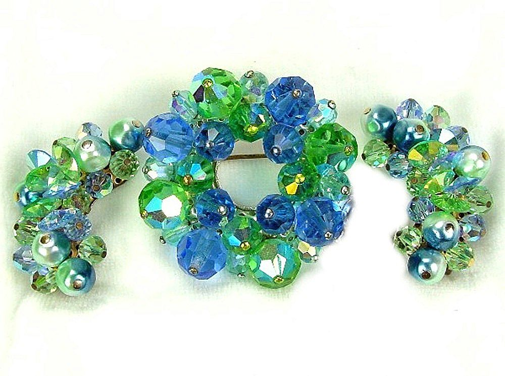 Laguna Demi Parure Blue & Green Crystals Faux Pearls