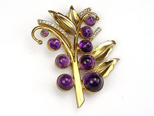 Czechoslovakia Brooch Tree Motif Amethyst Color Cabochon