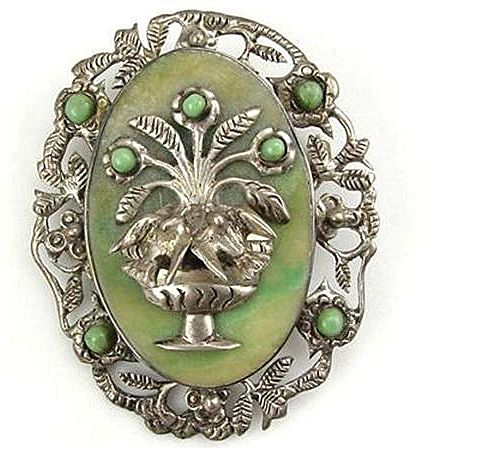 Fantastic Mexican Chrysoprase w/Sculpted Silver Birds