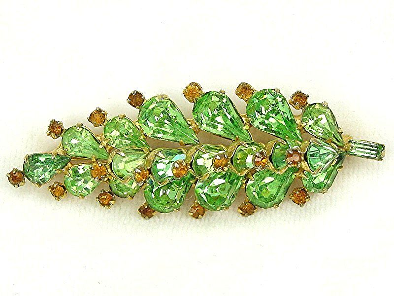 Vintage Weiss Brooch Green Teardrop & Orange RS