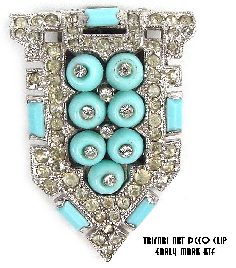 "Trifari Art Deco Dress Clip ""KTF"" Baby Blue Shoe Button RS"