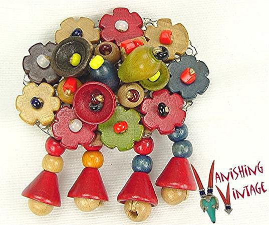 WW II Czech Wood Bead Brooch with Dangles