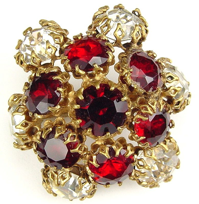 Domed Red and White Rhinestone Brooch Schreiner Style