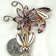Vintage Sterling Flower Brooch Purple Rhinestones