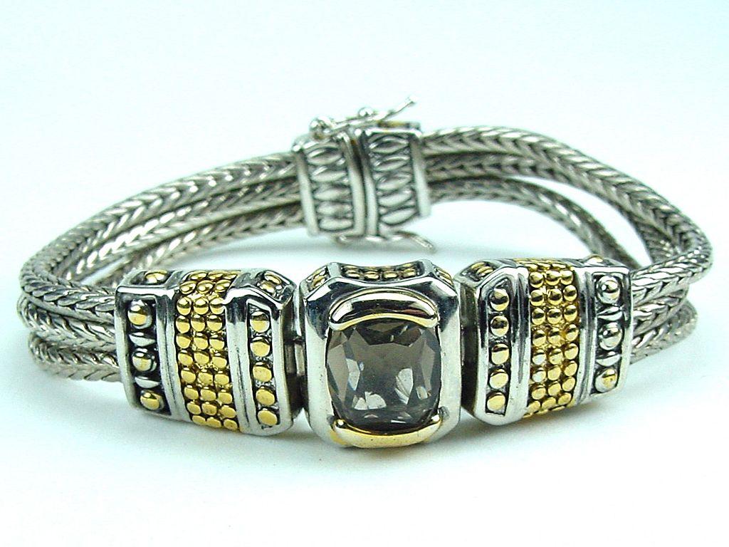 Decorative Smokey Quartz RS Triple Rope Bracelet