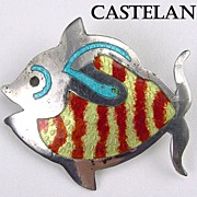 Castelan Mexico Sterling & Enamel Figural Fish Brooch